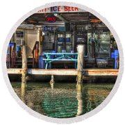 Bait Ice  Beer Shop On Bay Round Beach Towel