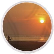 Baiting The Hook At Sunrise Round Beach Towel