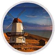 Baker City Windmill_1a Round Beach Towel