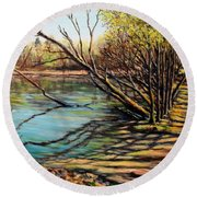 Bakers Pond Ipswich Ma Round Beach Towel by Eileen Patten Oliver