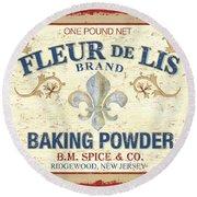 Baking Powder Fleur De Lis Round Beach Towel