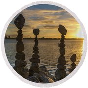 Balance Of Life Round Beach Towel