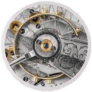 Balance Wheel Of An Antique Pocketwatch Round Beach Towel