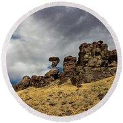 Balanced Rock Adventure Photography By Kaylyn Franks Round Beach Towel