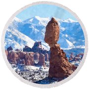 Balanced Rock  Arches National Park Round Beach Towel