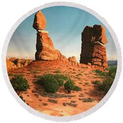 Balanced Rock At Arches National Park Round Beach Towel