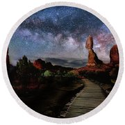 Balanced Rock Milky Way Round Beach Towel