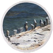Round Beach Towel featuring the photograph Balanced Rocks by Living Color Photography Lorraine Lynch