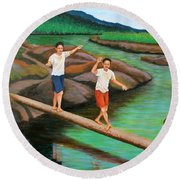 Balancing Life Through A Straight And Narrow Path Round Beach Towel