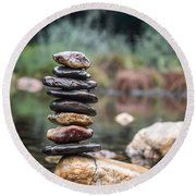 Balancing Zen Stones In Countryside River I Round Beach Towel by Marco Oliveira