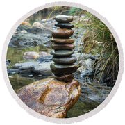 Balancing Zen Stones In Countryside River Vi Round Beach Towel