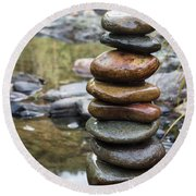Balancing Zen Stones In Countryside River Vii Round Beach Towel