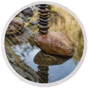 Balancing Zen Stones In Countryside River Viii Round Beach Towel