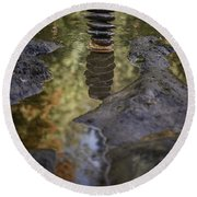Balancing Zen Stones In Countryside River X Round Beach Towel