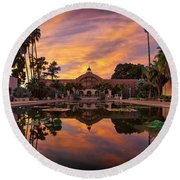 Balboa Park Botanical Building Sunset Round Beach Towel by Sam Antonio Photography