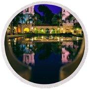 Balboa Park Reflections  Round Beach Towel