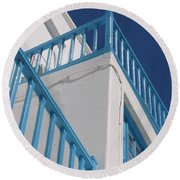 Blue And White In Mykonos Round Beach Towel