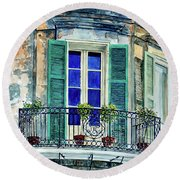 Balcony, New Orleans Round Beach Towel