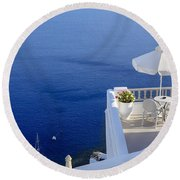 Balcony Over The Sea Round Beach Towel