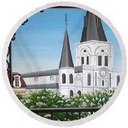 Balcony View Of St Louis Cathedral Round Beach Towel