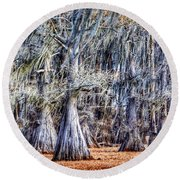 Round Beach Towel featuring the photograph Bald Cypress In Caddo Lake by Sumoflam Photography