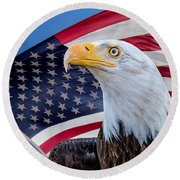 Bald Eagle And American Flag Round Beach Towel