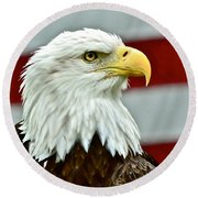 Bald Eagle And Old Glory Round Beach Towel