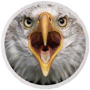 Bald Eagle Calling Round Beach Towel
