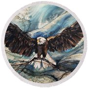 Round Beach Towel featuring the painting Bald Eagle by Christy Freeman