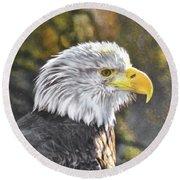 Bald Eagle Digital Round Beach Towel by Steven Parker