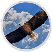 Round Beach Towel featuring the photograph Bald Eagle In Flight Calling Out by Justin Kelefas
