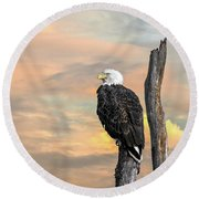Bald Eagle Inspiration Round Beach Towel