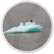 Bald Eagle On Blue Glacial Ice Round Beach Towel