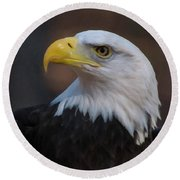 Round Beach Towel featuring the digital art Bald Eagle Painting by Chris Flees