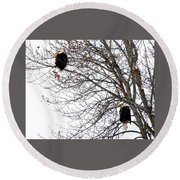 Round Beach Towel featuring the photograph Bald Eagle Pair by Will Borden