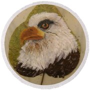 Bald Eagle Side Veiw Round Beach Towel by Ralph Root