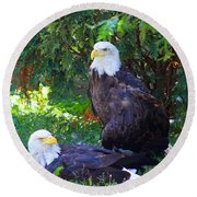 Bald Eagles Round Beach Towel by Michael Rucker