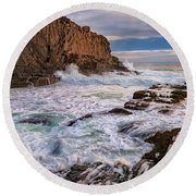 Round Beach Towel featuring the photograph Bald Head Cliff by Rick Berk