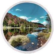Bald Mountain Pond Reflections Round Beach Towel