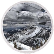 Baldy Lift Chairs In The Clouds Round Beach Towel