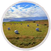 Bales Of Hay For The Animals Near Reykjavik, Iceland Round Beach Towel by Allan Levin