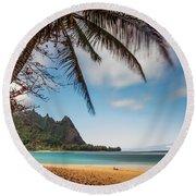 Bali Hai Tunnels Beach Haena Kauai Hawaii Round Beach Towel
