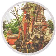 Round Beach Towel featuring the photograph Balinese Temple Gates by Cassandra Buckley