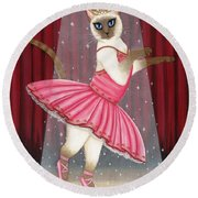 Ballerina Cat - Dancing Siamese Cat Round Beach Towel