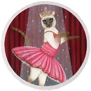 Round Beach Towel featuring the painting Ballerina Cat - Dancing Siamese Cat by Carrie Hawks