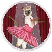 Ballerina Cat - Dancing Siamese Cat Round Beach Towel