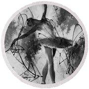 Ballerina Dance Black And White  Round Beach Towel by Gull G