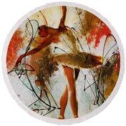 Ballerina Dance Original Painting 01 Round Beach Towel by Gull G