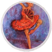Round Beach Towel featuring the painting Ballerina Dancing With A Fan by Xueling Zou