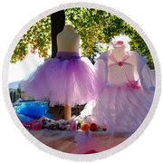 Ballerina Dresses Round Beach Towel